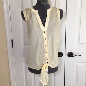 New Maeve Yellow Striped Button Tie Front Top Sz8